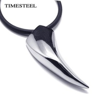 TSN1009 Fashion Men's Necklace 316L Stainless Steel Wolf Tooth Necklace Animal Pendant Necklaces 316L Stainless Steel Jewelry