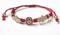 Free Shipping Wholesale 30Pcs/lot  RED  Black Evil Eye Hand of God Fatima Jewish Hamsa Kabbalah Shamballa  Macrame Bracelet
