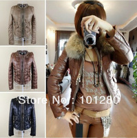 New arrival 2014 down jacket women's autumn winter fashion down coat outwear (without fur collar)