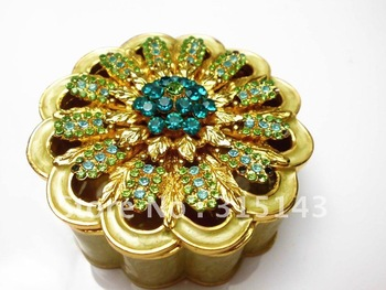 Wholesale(70pcs Pack)-2012 new flower sharp gold plated pewter Alloy metal jewelry box