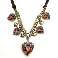 12pcs/lot Free Shipping Hot Sale Red Heart Pendant Necklaces Wholesale Womens Vintage Ruby Heart Wing Charm Necklet Necklace