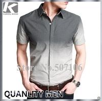 FREE SHIPPING 2012 KUEGOU summer men's cotton short-sleeve shirt men fashon casual top quality shirts