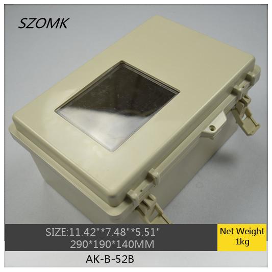 "1 piece ip65 hinged waterproof plastic box for electronic with small transpatrnt AK-B-52B 290x190x140mm 11.42""x7.48""x5.5""(China (Mainland))"