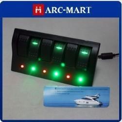 Black ABS 6 Gang Marine Boat Caravan LED Rocker Switch Panel IP68 #ST153
