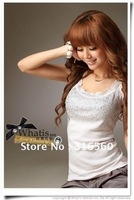 Best selling!!2012 ladies cotton T-shirt Fashion lace beaded clothes wear Free shipping 1pcs