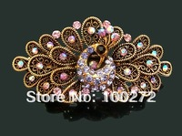 Wholesale hot sell zinc alloy rhinestone fashion peacock hair clips hair accessories Free shipping 12pcs/lot Mixed colors F20280