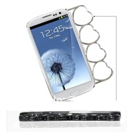 2012  New Arrivals fashion heart shaped knuckle case for Galaxy s3 i9300, 20pcs/lot with Retail packaging.