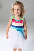 Free Shipping  2014 Girl dresses 4pcs/lot  children clothing kids clothes  Summer   in  stock