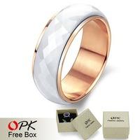 OPK JEWELRY New han edition jewelry rose gold plating white ceramic ring 1pcs/lot WJ197