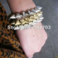 Free shipping wholesale 12pcs/lot  Multi Spike Stud Stretch Punk Gothic Bracelet