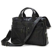 Free Shipping JMD Vintage Leather Men's Black Briefcase Laptop Bag Messenger Handbag Hot Selling #7122A