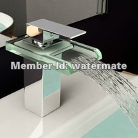 single handle lavatory LED waterfall faucet