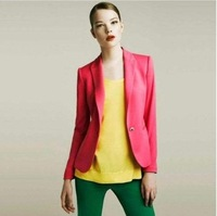 Free Shipping Fashion Brand Casual Women's  Candy Color Striped Lining Slim fit  Blazers Coat Jacket Outerwear