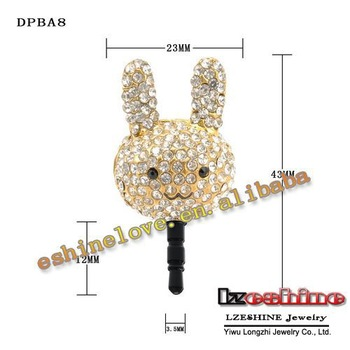 31mmX23mm Rabbit CZ Crystal Ear Cap Dust Proof  Plug For Mobilephone DPBA8