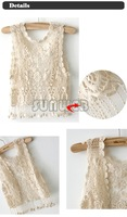 Fashion Lady Girl's Vintage Summer See Through Crochet Sexy Tank Cape Waistcoat Vest Tops free shipping 4041