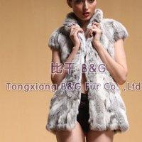 BG6342 New ArrivalGenuine Rabbit Fur Waistcoat With Strape Wholesale Retail Winter Women's Natural Fur Gilet