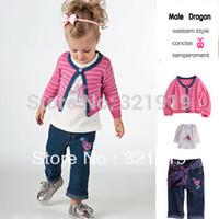 Free shiping 2012 baby girl autum pink  3pcs suit coat + cowboy child cardigan pants + children's T-shirt gymnastics costumes
