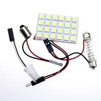 Free shipping 5pcs 24 SMD 5050 LED Car Panel Light Interior Room Dome Door White Bulb Adapter DC 12V  Lamp