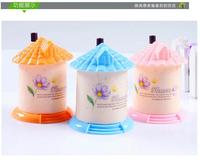 300pcs/lot pocket Plastic Castle Little House Design Automatic Toothpick Holder dispenser Box color mixed
