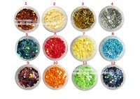 Free Shipping, 12 Pots 12 Colors Acrylic Nail 3d Art Glitter Designs, Nail Manicure Glitter Crush Shell, 60pots/lot