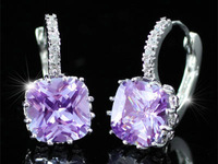 Wholesale Free Shipping 3 Carat Lilac Purple Simulated Sapphire Huggie Bling Earrings CSE232