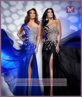 APB0464 Gorgeous Heavy Beaded One Side Cap Sleeve Split Prom Dress