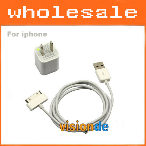 USB Power Adapter/ Wall Charger + Data Cable for iPhone 4/4S,for iPhone 3G/3GS,for iPod series - 20 pcs, Free Shipping by DHL(China (Mainland))