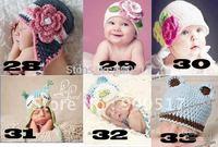 baby handmade hats newborn cap crochet baby hat infant hats Stripes Beanie owl and flower design cap