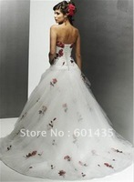 Free shipping ! WR1964 Embroidery Red and White Wedding Dresses