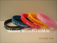1PC Free Shipping, Type 1 Diabetes Insulin Dependent Medical Alert Silicone Wristbands, Silicon Bracelet, Promotion Gift