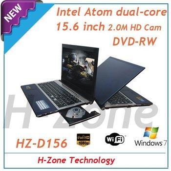 "15.6"" large laptop&notebook with Intel Atom Dual-core D2500 1.86Ghz CPU 4G ram&500G HDD DVD-RW WIFI 2.0MP Webcam HDMI Bluetooth"
