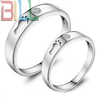 Free Shipping Fashion 925 Silver Imitation Diamond Lover Ring, 925 Sterling Silver Platium Plated Rings Jewellry
