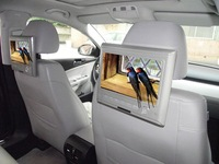 Car Headrest Monitor with double loud speaker,support 32G SD card/USB, FM transmitting and IR transmission function