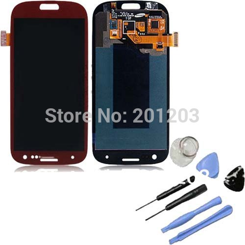 For Samsung Galaxy s3 i9300 LCD Screen Replacement +Digitizer Touch with tool Assembly Full set Red color Free Shipping(China (Mainland))