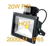 free shipping 20W PIR floodlight 1pcs/lot LED 90-100lm/w 10w PIR flood light, Black shell 10w PIR led flood light