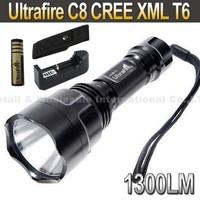 5sets,UltraFire C8 CREE XML T6  5-Mode 1300 Lumen LED Flashlight Torch+ 2*4000mah 3.7V 18650 Battery+Charger+pouch