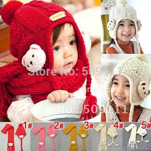 Baby earflap Bear hats scarf set Children's Animal hat Bonnet winter hat Kids caps 1set H111(China (Mainland))
