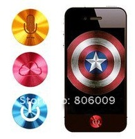 Aluminum Alloy Metal Home Button Sticker For iPhone iPod Touch Ipad with retail package, Free Shipping by DHL EMS