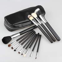 Wholesale Professional 1Set/lot Goat Hair Makeup Brush Set 12 PCs Brush Cosmetic Make Up Set with 2 Case Bag Kit, Free Shipping