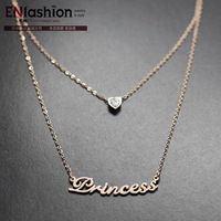 18KGP fashion zirconia heart shape princess words pendant necklace double chain stainless steel jewelry wholesale free shipping