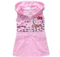 2012 New Arrival Cartoon Hello kitty Pink Baby Girl Dress Cotton vest dress 5pcs/lot Free Shipping