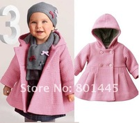2012 Autumn Winter Girl Windbreak Baby coat Wind Coat acquard weave woolen cloth 7~24M Free Shipping Wholesale Retail