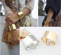 [Mix 15USD] Fashion jewelry Mirror Punk Rock Wide Flat Gold Tone or Silver Tone Bangle Cuff Bracelet B-050