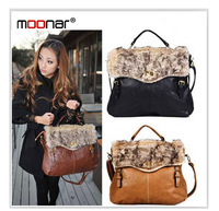 Charming Ladies Noble Fur Hasp PU Leather Tote Shoulder Bag Purse Handbag Casual b229