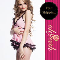 Free shipping-Hot selling  pink romantic dress sex lingerie sexy women bedroom wear R7445