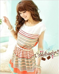 wholesale 2012 summer New Colorful Stripes orange stripnes Chiffon Mini Dress Free Bowknot Belt Women&#39;s Dresses free shipping(China (Mainland))