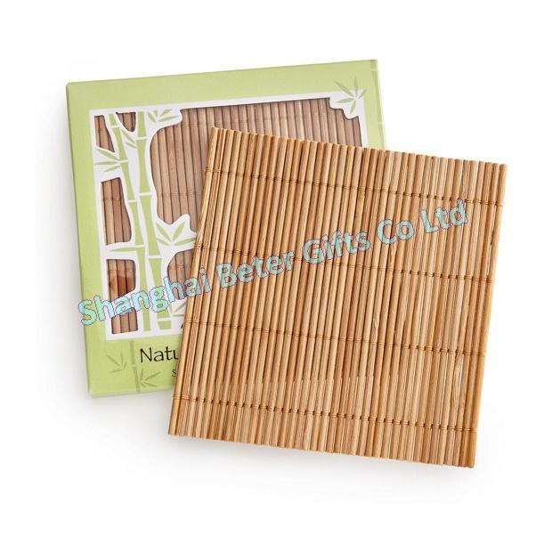 200pcs=50box Free Shipping Natural Bamboo Coaster Favors BD023 wedding gifts Wedding favor(China (Mainland))