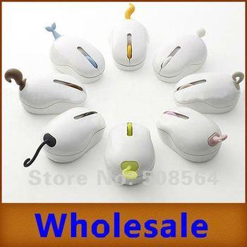 3pcs/lot 2.4G Wireless Optional Pet Mouse Animal Tail Design 10m 1000DPI USB 3 Keys