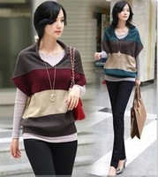 Free shipping, Fashion striped sweater women cardigan pullover, Sweaters for women, Hot selling, 2 colors SW6869