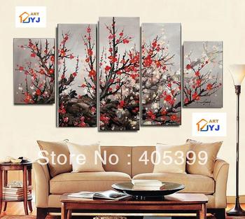 Free Shipping Worldwide ,5PC Huge ,Modern Flower  Oil Painting On Canvas  ,Pulm Tree Hotel Wall Art Love Art JYJLV285